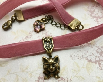 Choker Necklace - Velvet Choker - Cat Jewelry - Pink Ribbon Necklace - Kitty Necklace - Kitty Jewelry - Vintage Style Jewelry - Cat Lover
