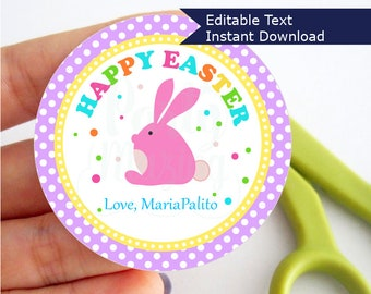 Editable Printable Easter Tag , Party Favor Sticker, Cute Some-Bunny Special Tag, Round or Square Topper, Instant Download - D857