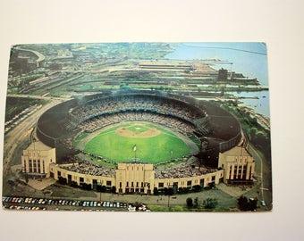 Cleveland Stadium Postcard 1959, with styamp, Sports Postcard, Cleveland Postcard, Ohio Postcard.