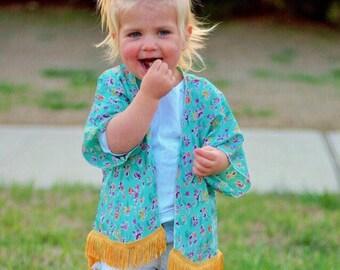 Aqua Floral Kimono, Girls Wildflower Kimono, Fringe Trim Kimono, Floral Beach Cover up, Swim Suit Cover Up, Baby Girls Toddler Kimono