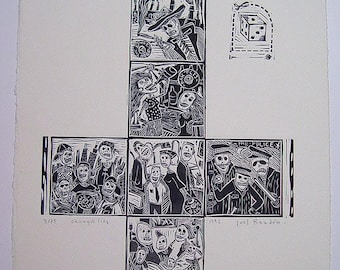 Vintage Mexican Artist JOEL RENDON 1992 Signed Linocut Print 'Chicago's Life' Edition 3/75