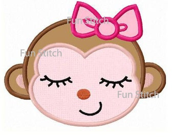 Girl monkey applique machine embroidery design