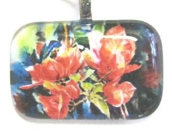 Bougainvilleas glass tile Pendant necklace, watercolor print Art  unique gift red flower Handmade