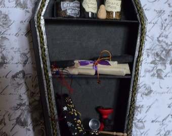 Miniature Vampire/Goth/Witch Bookcase, Coffin Book Case in 1/12 scale