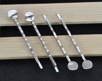 50pcs Rhodium Plated Bobby Pin with Glue Pad/Hair pin/Jewelry Finding 50mm, The size of the pad is about 8mm