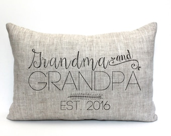"grandparent christmas gift, grandparent gift, grandma christmas gift, grandpa gift, personalized pillow,  ""The Grandma & Grandpa 3"""