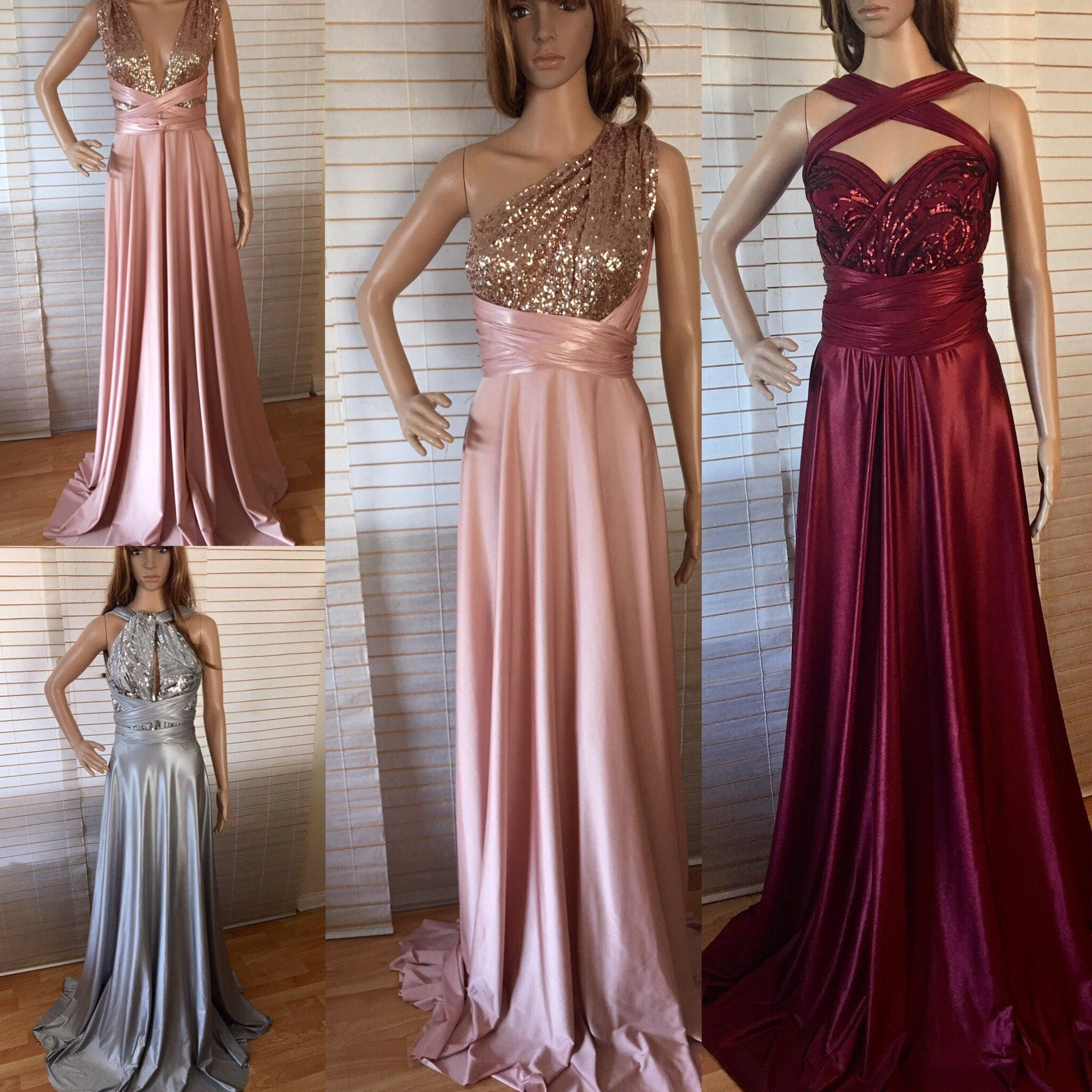 Bridesmaid dresses multiple ways to wear image collections bridesmaid dresses convertible bridesmaid dress by vaneldesign bridesmaid dress blush grey burgundy sequins infinity bridesmaids dress ombrellifo Image collections