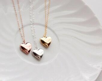 Solid Heart Locket - Flower Girl Gift, Childrens Heart Locket, Locket Necklace, Flower Girl Jewelry, Flower Girl Necklace Flower Girl Locket