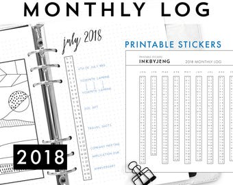 Printable PDF - 2018 Monthly Log for Journal | Vertical Calendar | Fits 5mm Grid | Print and Stick | Printable Stickers for Planners
