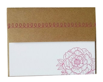 Peony Letterpress Stationery in Fuchsia with Sewn Envelope - 5 pack
