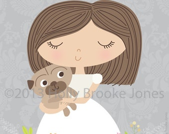 Girl and her pug print - 8 x 8 inch - Printable digital file - Instant Download