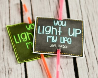 Valentine Printable - You Light Up My Life - Personalized Valentines