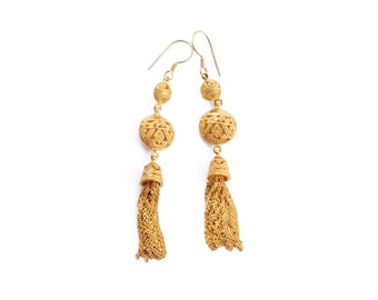 Songket Gold Plated Drop Chain Earrings / 925 Sterling Silver / Gold Plated / Fine Quality