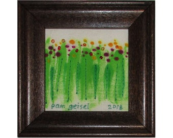 Mini Art Quilt, Framed Landscape Quilt, Tiny Flowers, Floral
