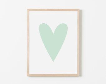 Mint Heart Nursery Art. Nursery Wall Art. Nursery Prints. Nursery Decor. Girl Wall Art. Mint Wall Art. Instant Download.