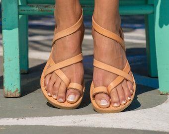 Greek Leather sandals,Ancient Grecian sandals,Women sandals,Strap sandals,Women shoes,Triskelion,KLEIO,