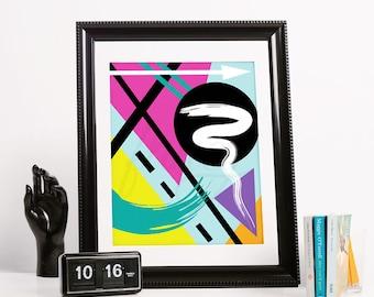 Geometric Abstract Art Print- Just Go #2