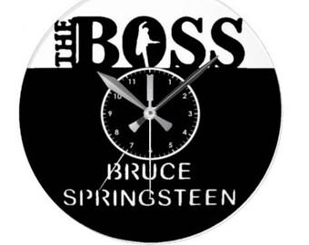 Handmade wall clock on vinyl record LP 33 Rev The Boss