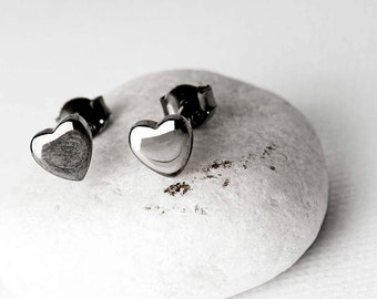Black Heart Studs, Heart Stud Earrings Sterling Silver, Black Heart Jewelry, Black Heart Jewellery, Contemporary Silver Heart Studs, Heart
