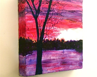 Original Acrylic Painting Sunset Trees Snow I Impressionism