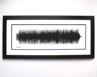 Heaven - Song Lyric Art, Sound Art Print, Framed Print, Canvas. Gift for Music Lovers, Musicians