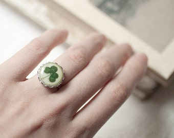 Four leaf clover ring, St patricks day gift, Saint patricks day, 4 leaf clover ring, Shamrock ring, a lucky clover gift, Irish green ring