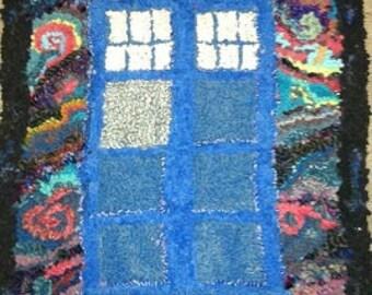 TARDIS in Space hooked rug