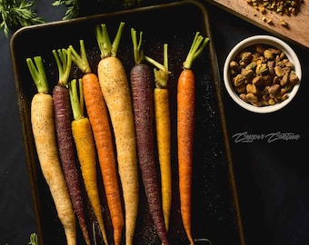 Colorful Carrots on Baking Sheet with Crushed Pistachios Framed Canvas Print Foodie Food Art Cooking Art Food Prep Photography Photo