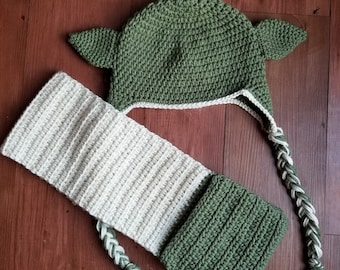 Yoda inspired Hat and Scarf set