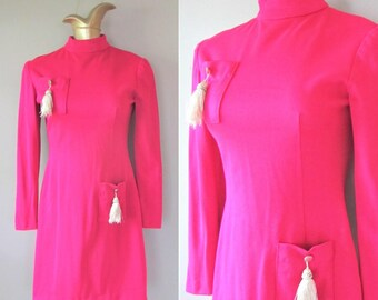 Vintage 1960's HOT PINK Wiggle Dress / Silver Tassel High Neck Mod Mini Party Dress / Size Small