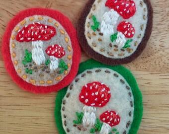 Mushroom Buddies: Amanita muscaria (Patch, Pin, Brooch, or Magnet)