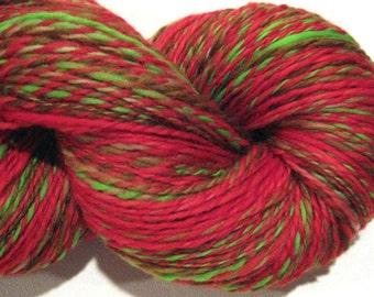HALF OFF SALE Handspun yarn Orchard 2 ply,440 yards hand dyed red falkland wool top yarn knitting supplies crochet supplies