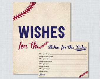 Baseball Wishes for Baby Baby Shower Activity - Printable Well Wishes for Baby Cards and Sign - Instant Download- Vintage Baseball Baby 0027
