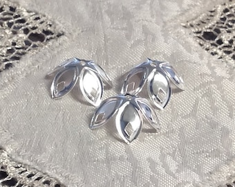 Fancy Shiny Silver Bead Caps, Modern, Silver Plated, Five Petals, 20 pcs.
