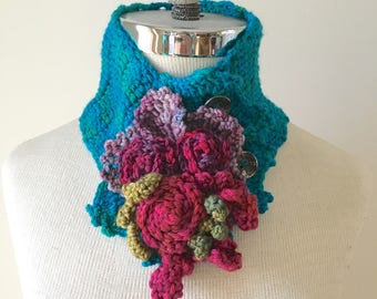 Rose Scarf in turquoise with a purple pink roses and green leaves to accent this beautiful scarf.  READY TO SHIP.