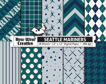 10 Seattle Mariners Digital Papers for Scrapbooking, Digital Paper, Digital Scrapbook Paper, Printable Sheets, Baseball, Patterns