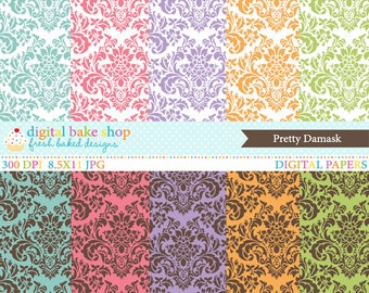 damask digital papers - Pretty Damask Digital Papers