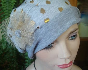 womens hat light grey gold spot poppett hat with  chemo hat soft cotton
