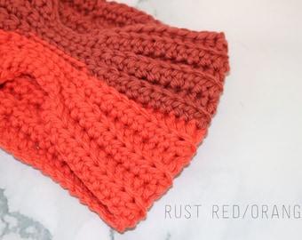 Crochet Ear Warmer, Crochet Headband, Orange Headband, Winter Headband, Winter Accessory, Womans Headband, Adult Ear Warmer