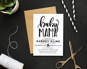 Printable Modern Baby Mama Shower Invitation   Custom Calligraphy Baby  Shower Invite   Funny Handlettered Baby