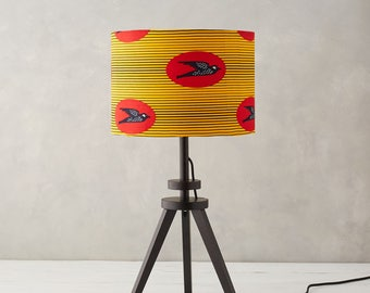Lampshade African Wax Print - drum lampshade - Yellow bird lampshade - Lamp shades - Red and Yellow Speed Bird