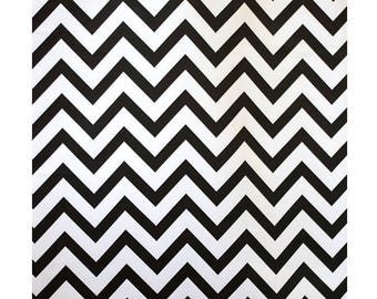 "58"" Wide - Heavy Weight BLACK L'Amour Satin Chevron Design Print Fabric"