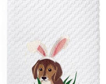 Embroidered Easter Puppy Kitchen Tea Towel