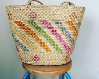 Vintage pastel straw market bag