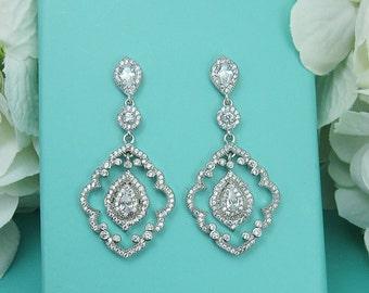 CZ Art Deco Chandelier earrings, Vintage Earrings, wedding jewelry, bridal jewelry, wedding earrings, Joslyn Chandelier Earrings