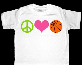 Peace, Love, Basketball Shirt or Bodysuit - Perfect for the basketball enthusiast
