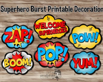 Superhero Burst Party Decorations, Superhero Pop Art, Avengers, Party Supplies, Party Printables - Digital JPG Files, INSTANT DOWNLOAD