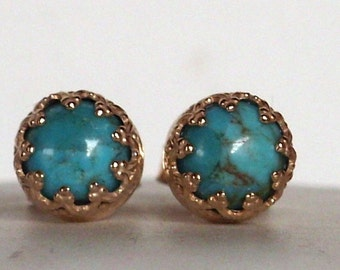 Delicate Turquoise gemstone earrings Post - stud earrings --  vintage - sterling Silver vermeil - Bridal