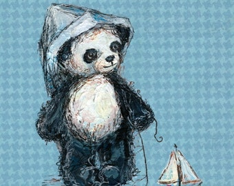 Panda and Sailboat, Panda Nursery Art: Art print with Poetry