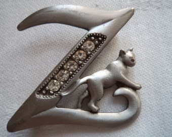 Vintage Signed JJ Silver pewter/Rhinestone Initial Z Cat Brooch/Pin
